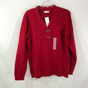 Charter Club Buckle Cotton Henley Sweater 1X